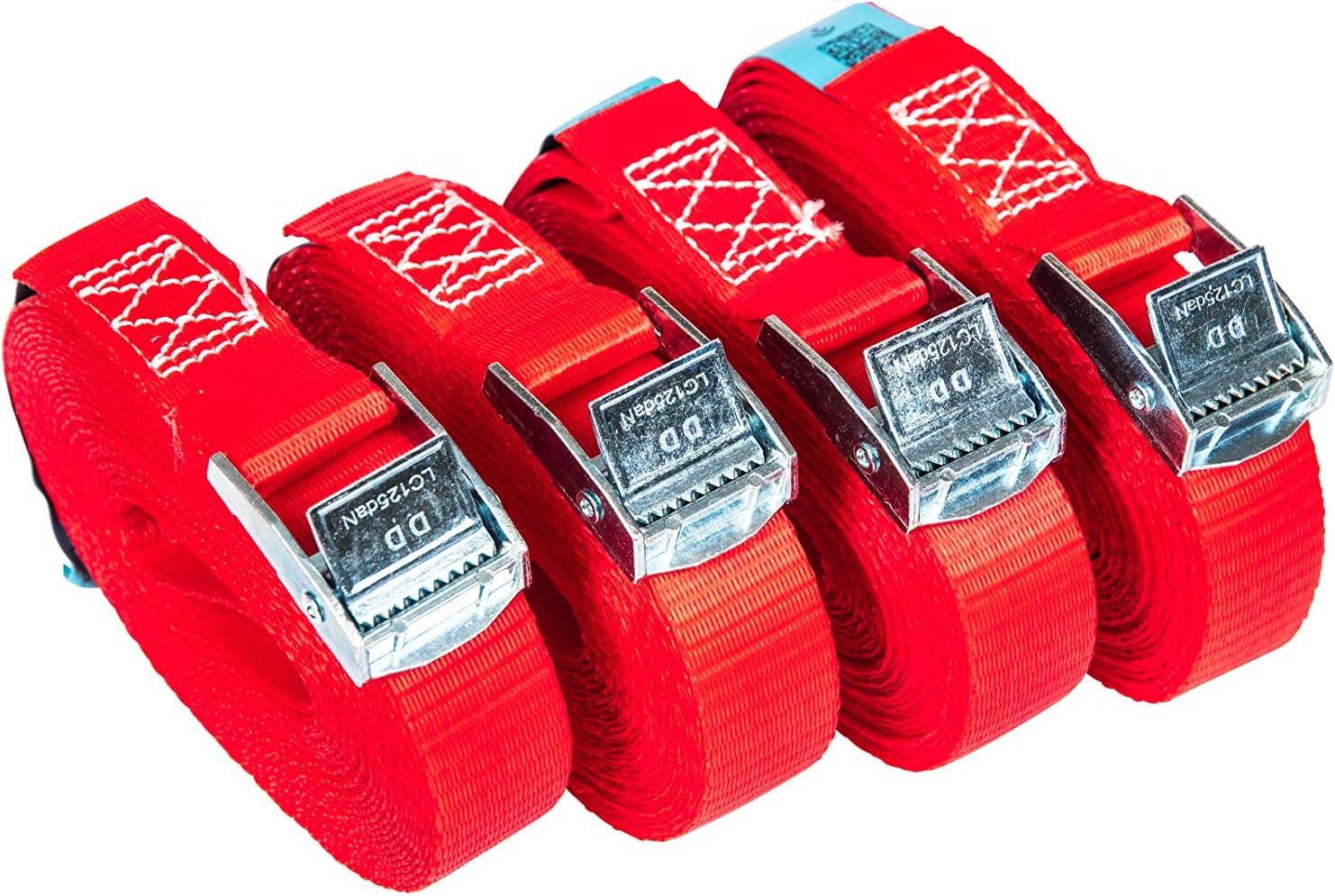 PKD 720 Lot de 4 sangles darrimage avec boucle de serrage Largeur 25 mm Longueur 4 m