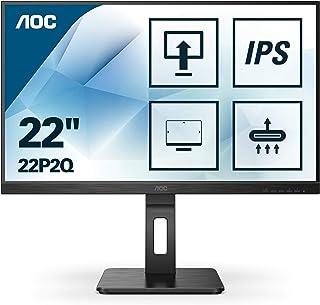 AOC 22P2Q Monitor, 54 cm (21,5 inch), DVI, HDMI, DisplayPort, USB-hub, 4 ms reactietijd, 1920 x 1080, 75 Hz, pivot, zwart