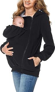 Femmes Maternit/é Ray/é B/éb/é Pouch Carrier Hoodie Kangourou Zipper Grossesse /À Manches Longues Casual Noir Manteau Outwear Veste