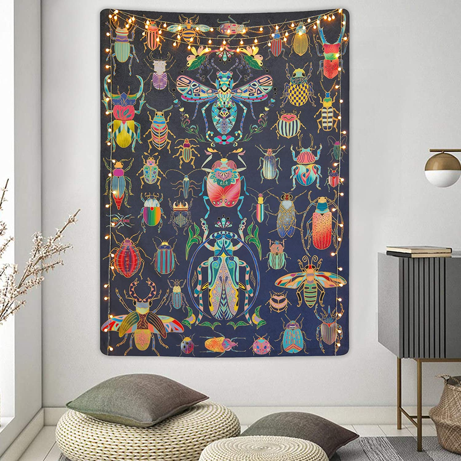 Lyacmy Bugs Tapestry Insect Tapestry Beetles and Bees Tapestries Illustrative Reference Chart Tapestry Wall Hanging for Room (59.1 x 82.7 inches)
