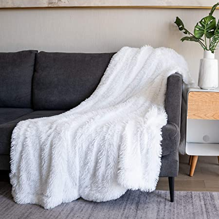 """Soft Fuzzy Faux Fur Throw Blanket ,50""""x60"""",Reversible Lightweight Fluffy Cozy Plush Fleece Comfy Furry Microfiber Decorative Shaggy Blanket for Couch Sofa Bed,Pure White"""