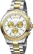 Roberto Cavalli ROUND Chrono Men's Diver's Chronograph Swiss-Quartz Two Tone Stainless Steel Bracelet Watch