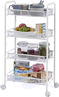 Ovicar 4 Tier Mesh Wire Rolling Cart, Kitchen Storage Organizer Utility Cart, Full Metal Basket Storage Art Trolley Carts ...