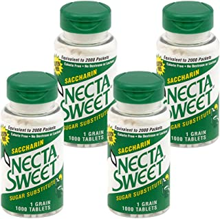 Necta Sweet 1-Grain Saccharin Tablets - Zero-Calorie Sugar Substitutes (4-Pack 1,000-Tablet Bottle)
