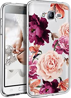 BAISRKE Galaxy J3 V Case, Galaxy J3 2016 Case with Flowers, Slim Shockproof Clear Floral Pattern Soft Flexible TPU Back Cove for Samsung Galaxy J3 2016/ Express Prime/Amp Prime [Purple]