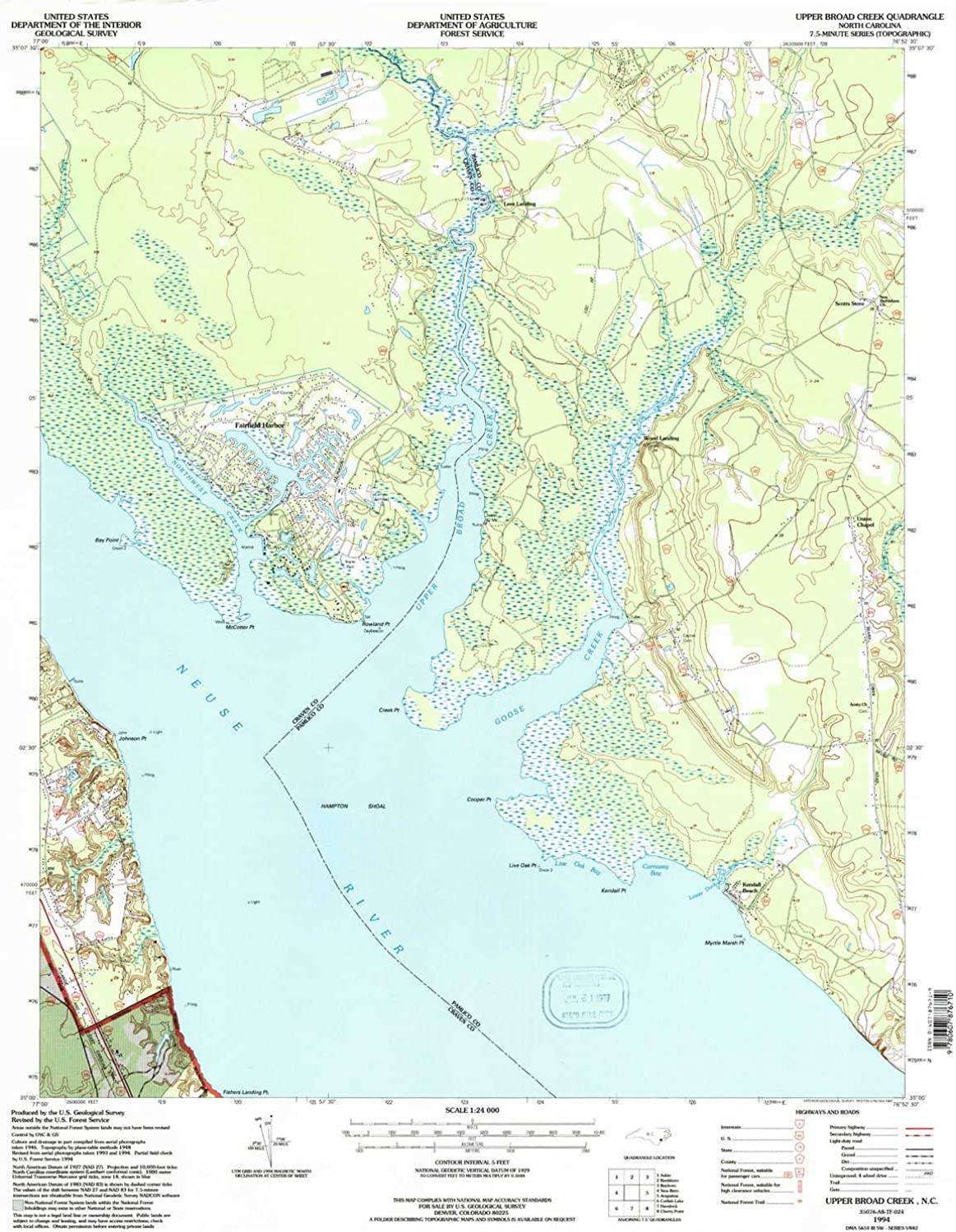 Upper Broad Creek NC topo map, 1 24000 Scale, 7.5 X 7.5 Minute, Historical, 1994, Updated 1997, 26.8 x 22 in