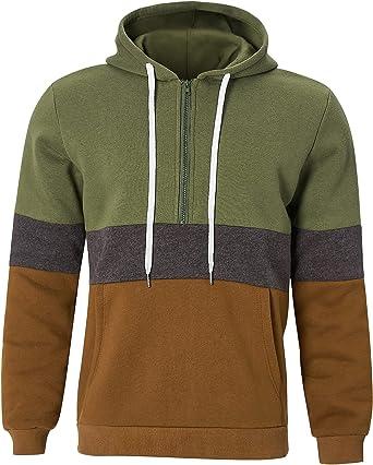 ALISISTER Mens Hoodie Fleece Lined Pullover Sweatshirt Half Zip Contrast Color Patchwork Hoody with Pocket M-XXL