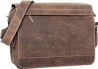 ALMADIH Leder Umhängetasche M25 Large braun Vintage aus Rindsleder - DIN A4 Ledertasche mit gepolstertem Laptop Fach, Leder Aktentasche Messenger Unitasche Schultertasche Freizeittasche M25 Large