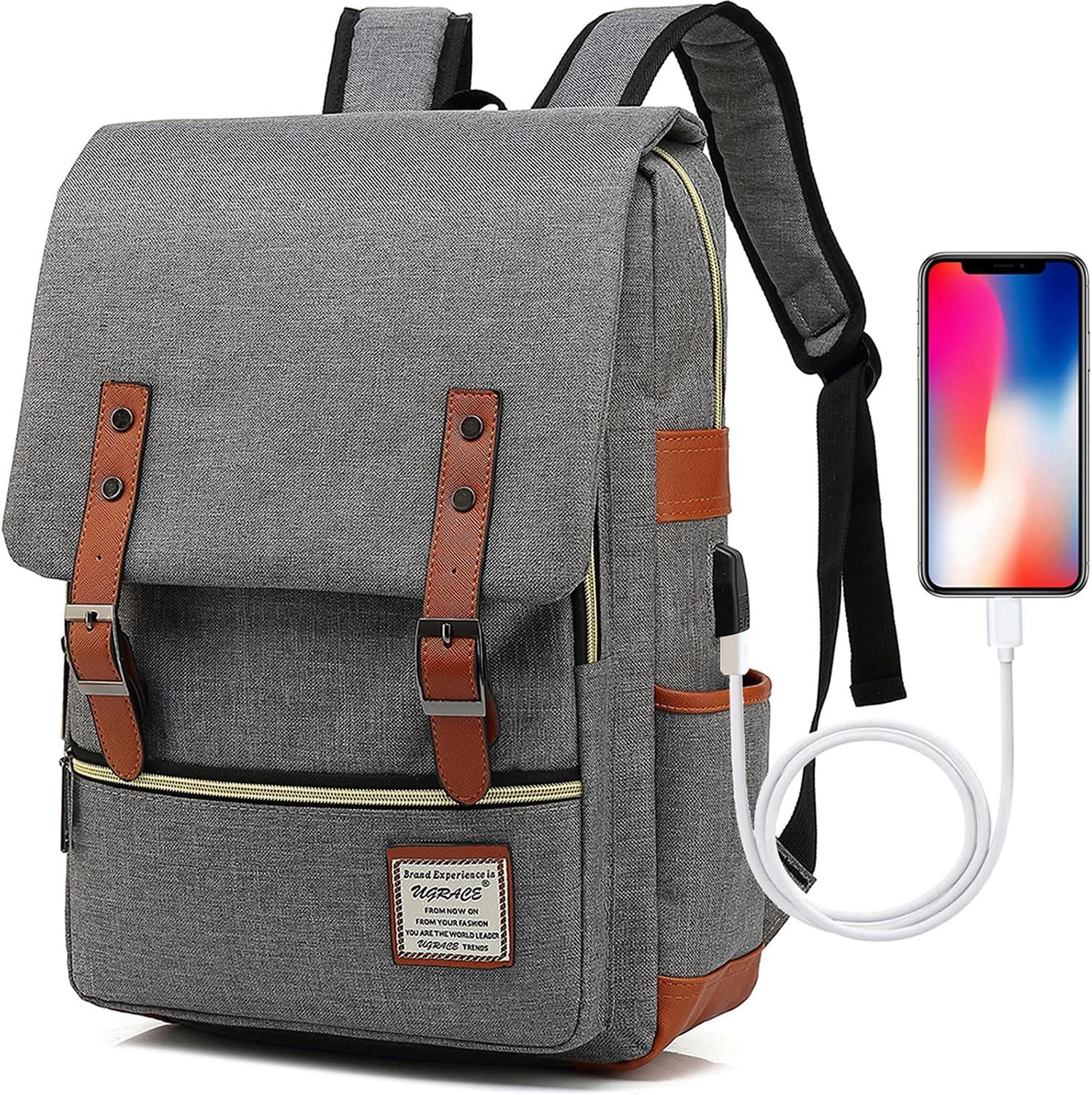 UGRACE Vintage Laptop Backpack with USB Charging Port, Elegant Water Resistant Travelling Backpack Casual Daypacks School Shoulder Bag for Men Women, Fits up to 15.6Inch Laptop in Grey