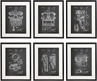 IDIOPIX Typewriter Patent Wall Decor Chalkboard Art Print Set of 6 Prints UNFRAMED
