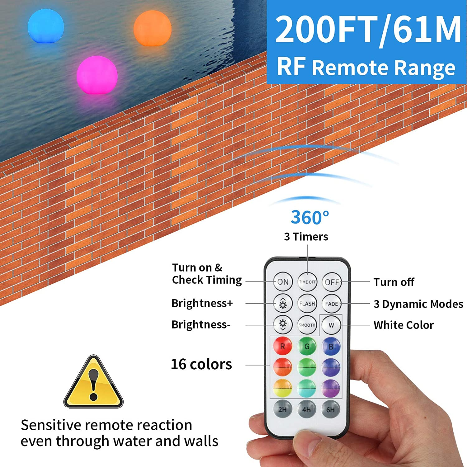 Homly Floating Led Pool Lights with Remote RF Light Up Pool Balls Pool Decor Outdoor Indoor IP67 Waterproof Pool Toys Hot Tub Bathtub Light Toy 16 Color Changing Glow Balls Battery Powered