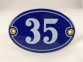 Emaille huisnummerbordje nr. 35, ovaal, blauw-wit Nr. 35 Blau-Weiß + Schrauben und Dübel