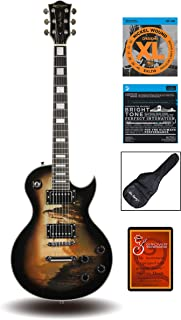 """Best Leo Jaymz 24.75"""" Single Cut Curved Top Electric Guitar - with Castle Falls Graphic on Top - Grover Machine Heads Installed - Super Light String in 0.9 and Extra Set as Spare Parts Review"""