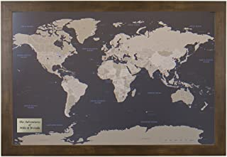 Push Pin Travel Maps Personalized Earth Toned World with Rustic Brown Frame and Pins - 27.5 inches x 39.5 inches