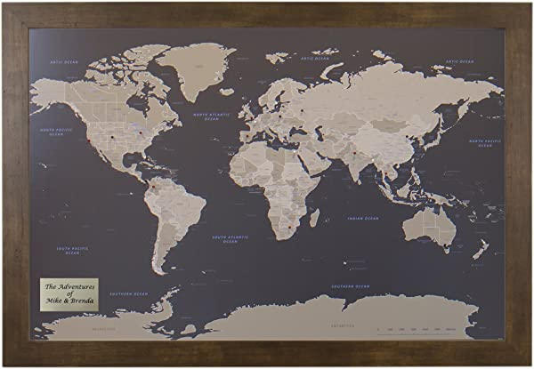 Push Pin Travel Maps Personalized Earth Toned World With Rustic Brown Frame And Pins 27 5 Inches X 39 5 Inches