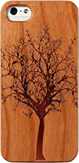 JuBeCo2016 New Pattern iPhone 5/5S Wooden Case, Genuine Bamboo Wood Case for iPhone 5/5S - Handmade Wood (Tree Cherry)