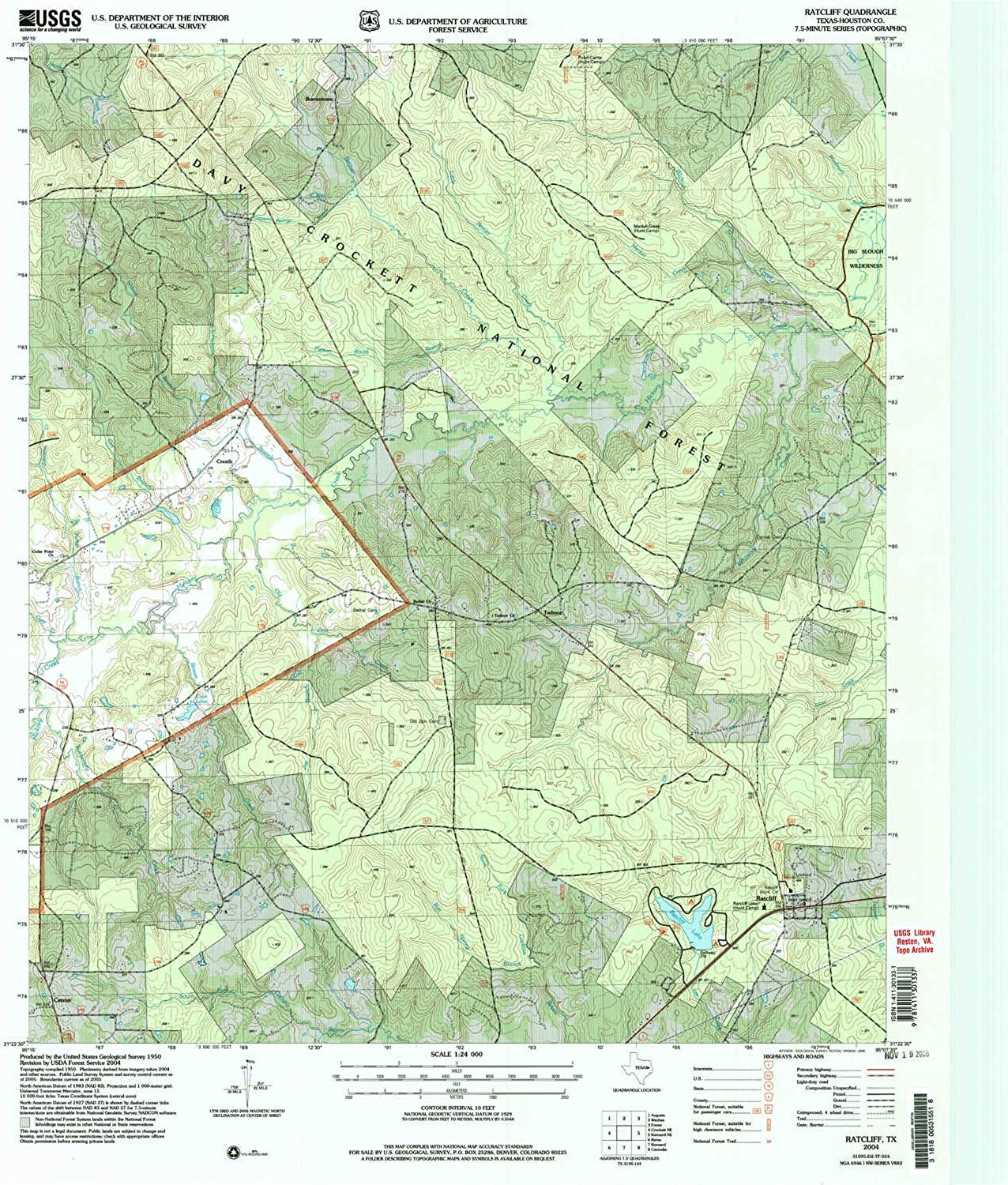 Ratcliff TX topo map, 1 24000 Scale, 7.5 X 7.5 Minute, Historical, 2004, Updated 2006, 27 x 23 in