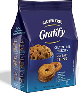 Gratify Gluten Free Pretzel Thins, Sea Salt, 6 Ounce (Pack of 6)