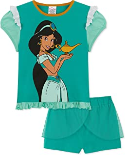 Disney Princess Girls Short Pyjamas, Princess Jasmine, Rapunzel, Belle, Mermaid Girls PJs, Disney Gifts