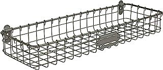 Spectrum Diversified Vintage Mount Tray, Slim Wall Basket Customizable Label Plate, Rustic Farmhouse Décor, Sturdy Steel W...
