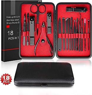 Salandens Manicura Set- 18 en 1 Manicura y Pedicura Profesional de pedicura profesional de acero inoxidable, tijeras para ...