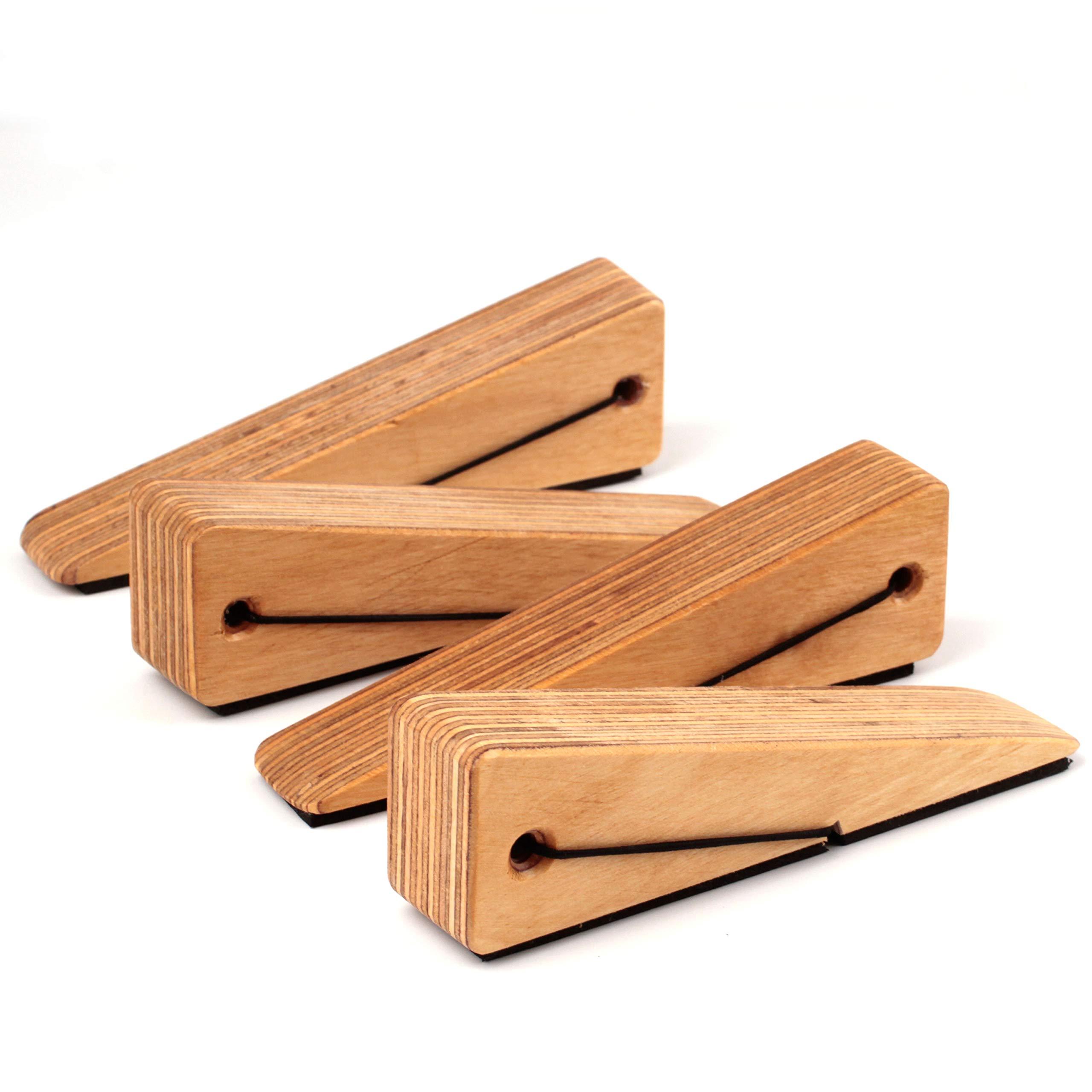 Multiple Sizes Extra Large Door Stops With Heavy Duty Door Stopper Decorative Wooden Doorstop Wedge Multiple Surface Wood Door Stop With Leather Band Quality Design For All Surfaces Door Stops