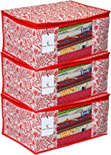 Kuber Industries Floral Design 3 Piece Non Woven Saree Cover, Extra Large, Red (CTKTC2543)