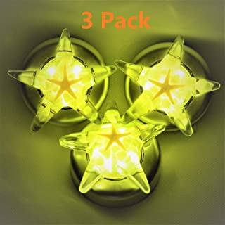 Stick-On Star Shape Tap Touch Battery-Powered Lamp,Handmade Amber Resin Art Push Night Light, Starfish Luminous Stone,for Kid,Easy-Found in Darkness,Cordless,3 Pack,Batteris Not Included