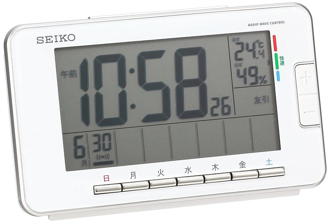 パンフレット気質オフセットセイコー クロック 目覚まし時計 電波 デジタル ウィークリー アラーム カレンダー 快適度 温度 湿度 表示 白 SQ774W SEIKO