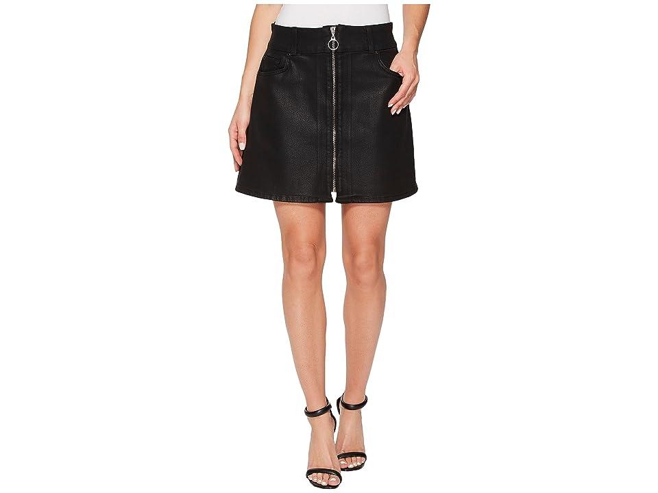 7 For All Mankind Zip Front Mini Skirt in Black (Black) Women