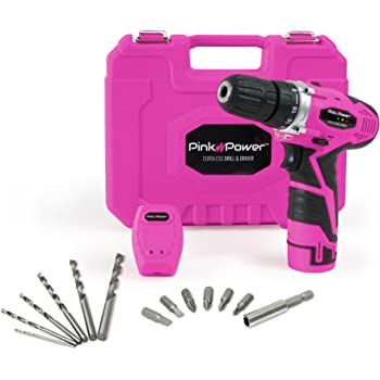 Pink Power PP121LI 12V Cordless Drill & Driver Tool Kit for Women- Tool Case, Lithium Ion Electric Drill, Drill Set, Battery & Charger