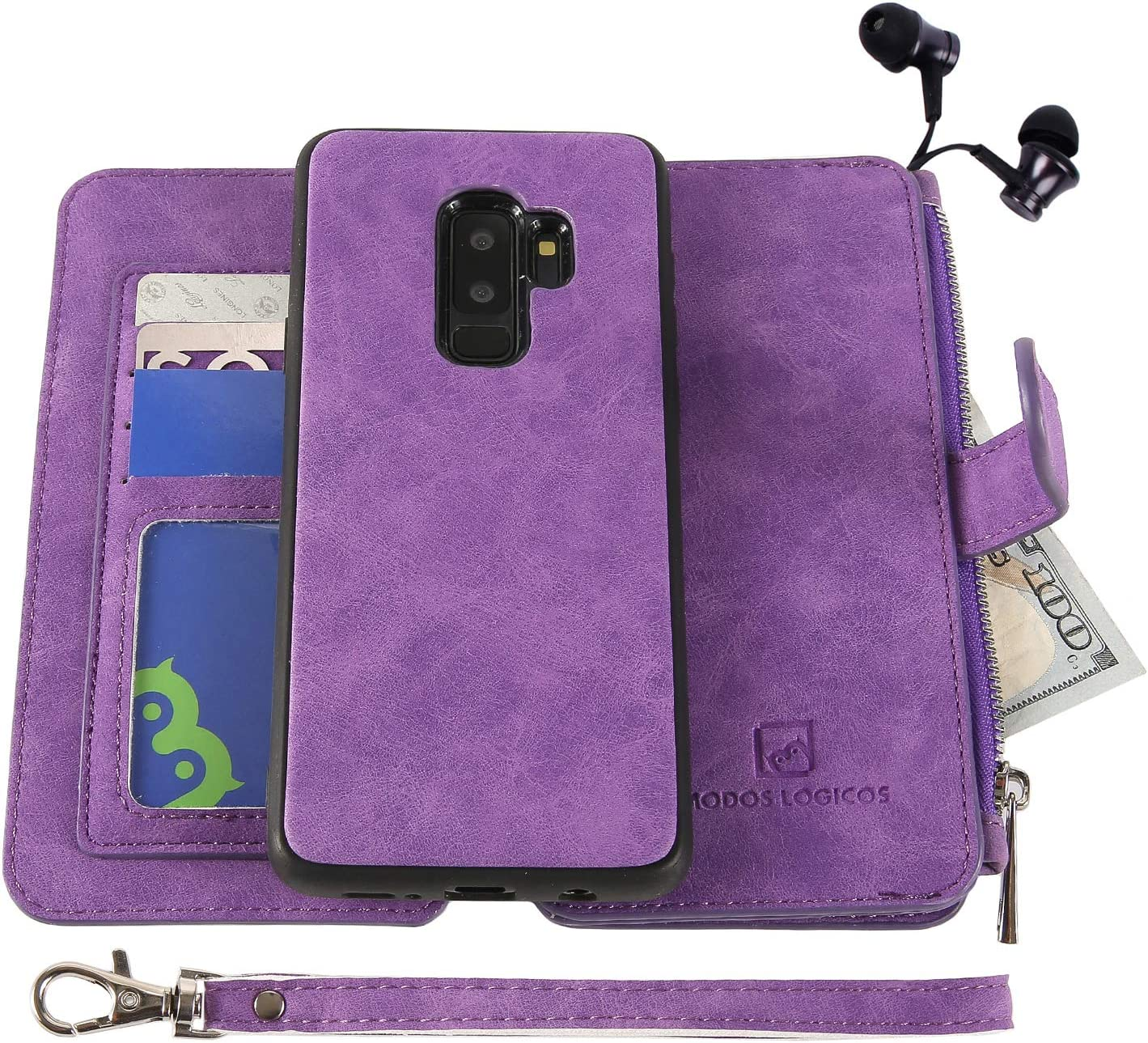 MODOS LOGICOS Case for Samsung Galaxy S9 Plus, [Detachable Wallet Folio][2 in 1][Zipper Cash Storage][14 Card Slots 1 Id Window] PU Leather Purse Clutch with Removable Inner Magnetic TPU Case -Purple