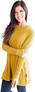 Waffle Knit-Shirt Women-Tops Crewneck Long-Sleeve Solid-Tunics Oversize-Pullovers