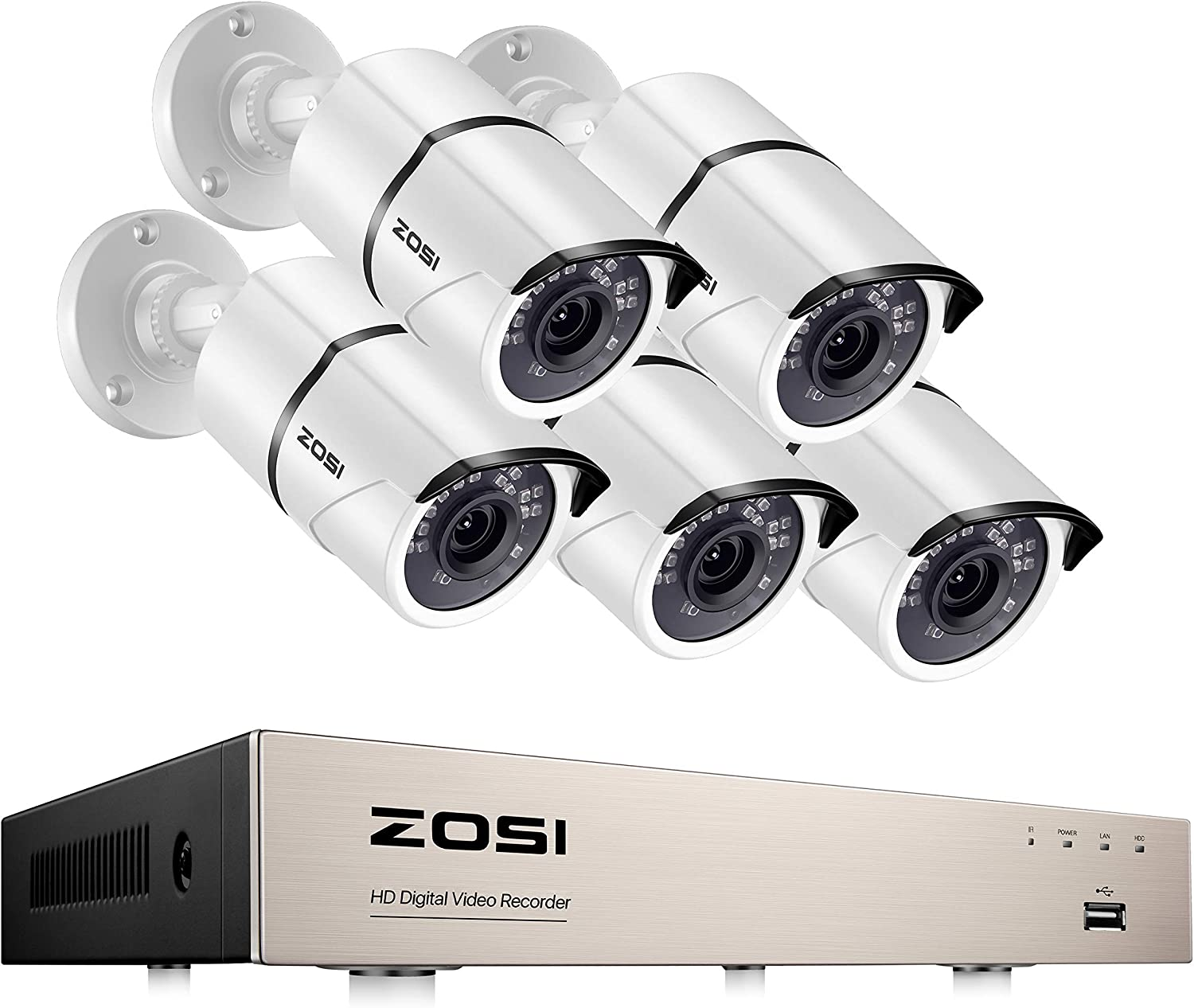 ZOSI H.265+ Outdoor Security Cameras System, 8 Channel 5MP Lite Surveillance DVR with 5pcs 1080P Waterproof Security Bullet Camera, Support 120ft Night Vision, Motion Detection, Remote Access