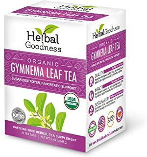 Gymnema Leaf Tea 100% Organic – Natural Sugar Regulator – Reduce Sweet Cravings –Caffeine Free –Keto Friendly – Vegan - Gl...