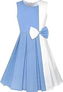7e9e80decd7 Sunny Fashion Robe Fille Bloc de Couleur Contraste Nœud Papillon De Tous  Les Jours Partie 4