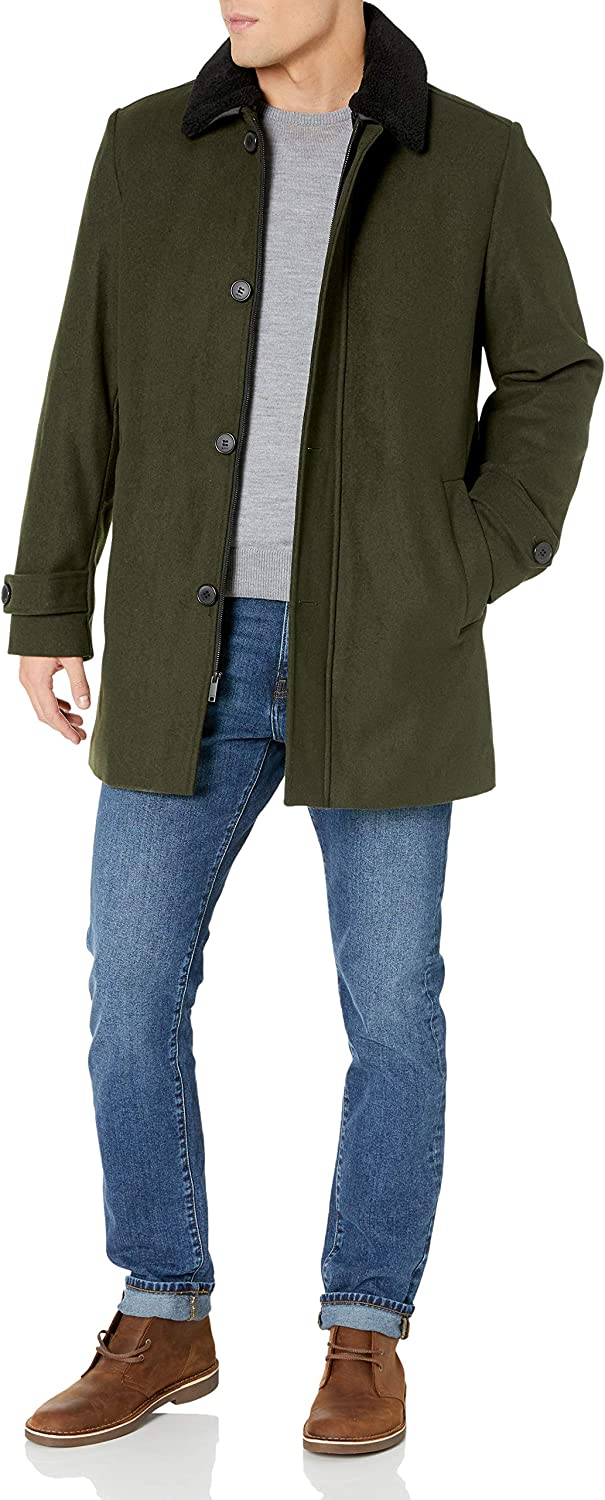 DKNY SEAL limited product Men's Wool Blend Walking with Removable Sherpa National products Coat Collar