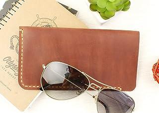 Soft Eyeglass Case BROWN CINNAMON + Free Gift - Crazy Horse Leather - Eyeglass Case - Genuine Leather - Gift for men - Gift for women - Anniversary Gift - Christmas gift - Leather Eyeglass Case