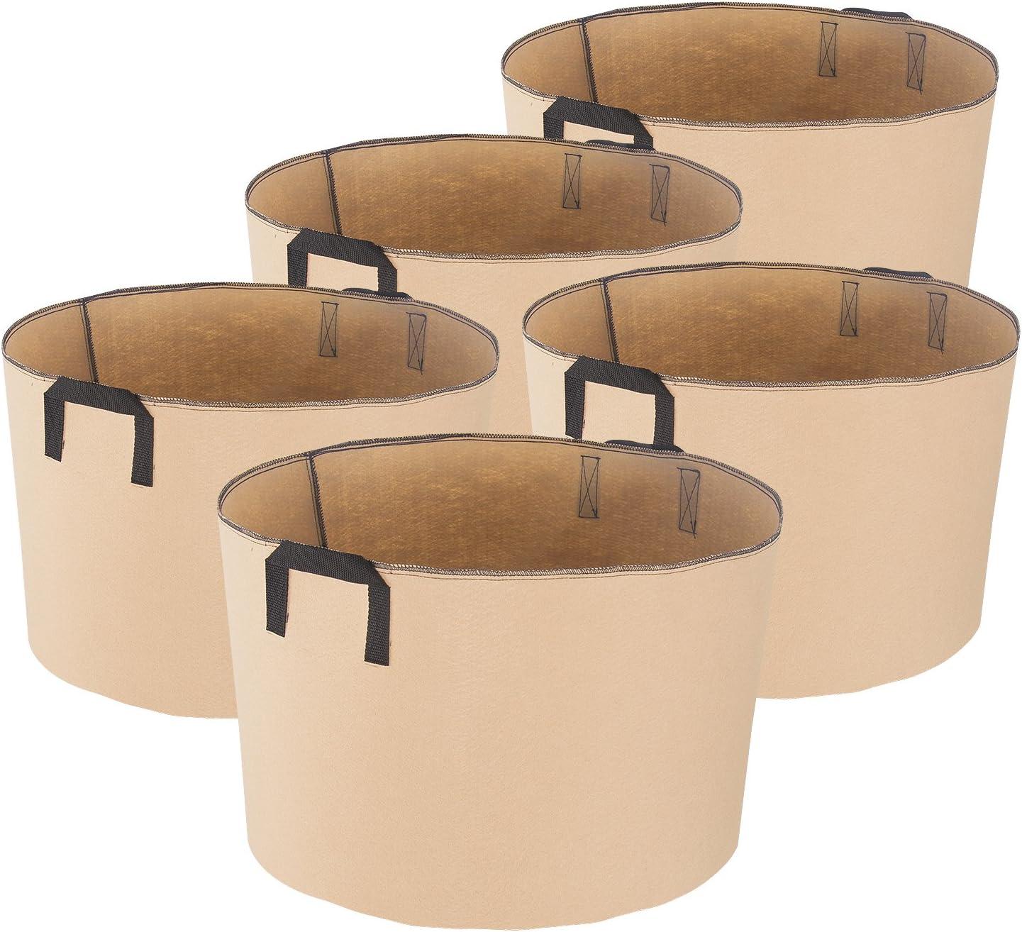 iPower GLGROWBAG15X5 Recipiente para macetas de aireación de tela para jardín y plantación con asas de correa para vivero, 15 galones, bronceado
