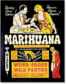 Propaganda Political Drug Abuse Marijuana Weed Weird Art Print Framed Poster Wall Decor 12x16 inch