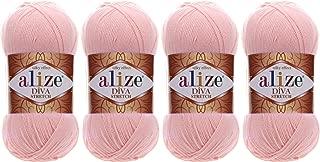 92% Microfiber Acrylic, 8% Pbt Elastic Stretch Yarn Alize Diva Stretch Thread Crochet Hand Knitting Turkish Yarn Lot of 4skn 400gr 1752yds (363-Bridal Pink)