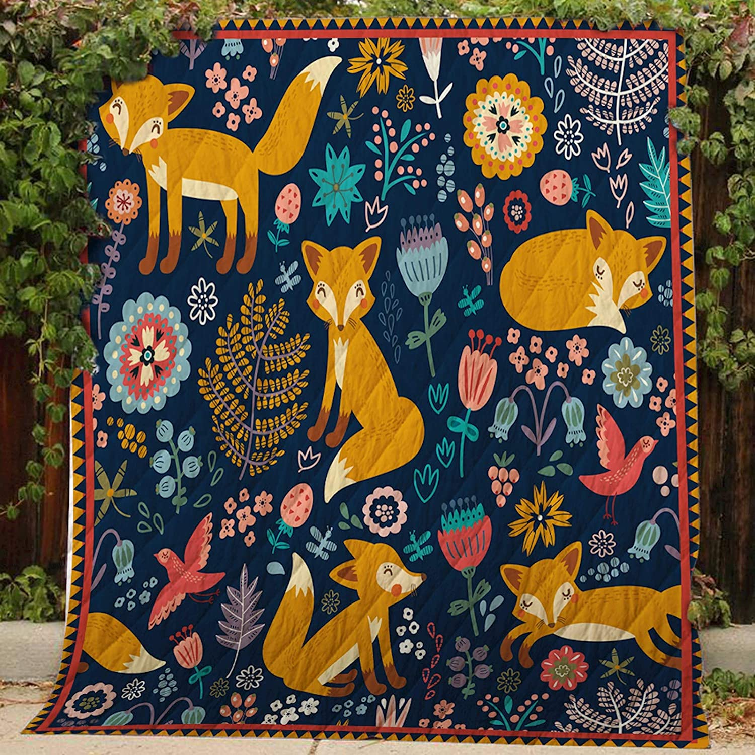 Fox in Forest Quilt MH21, Queen All-Season Quilts Comforters with Reversible Cotton King Queen Twin Size - Best Decorative Quilts-Unique Quilted for Gifts