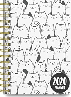 2020 Cats Soft Cover Academic Year Day Planner Book by Bright Day, Weekly Monthly Dated Agenda Spiral Bound Organizer, 16 Month Calendar 6.25 x 8.25 Inch,