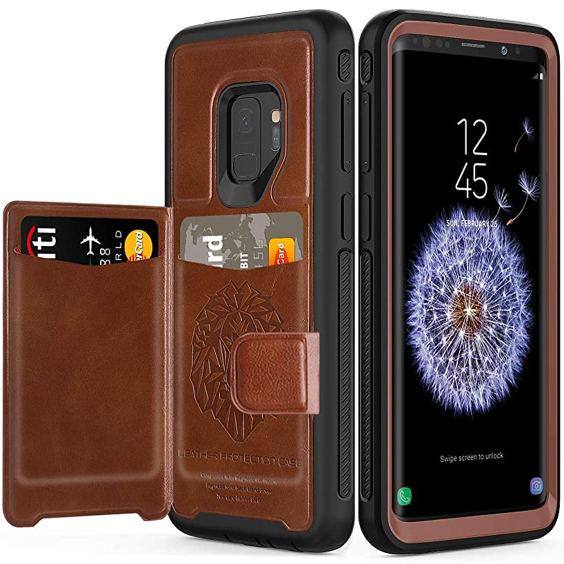 Galaxy S9 Case with Built-in Magnetic Backing,SXTech (Leather Cover Series) Slim Yet Protective with Card Holders.Kickstand Wallet Case Fit for Samsung Galaxy S9 5.8 Inch (2018) Cover-Brown