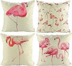 Luxbon Set of 4Pcs Tropical Design Flamingo Series Cotton Linen Throw Pillow Cases Home Sofa Decorative Cushion Covers 18x18 / 45x45cm