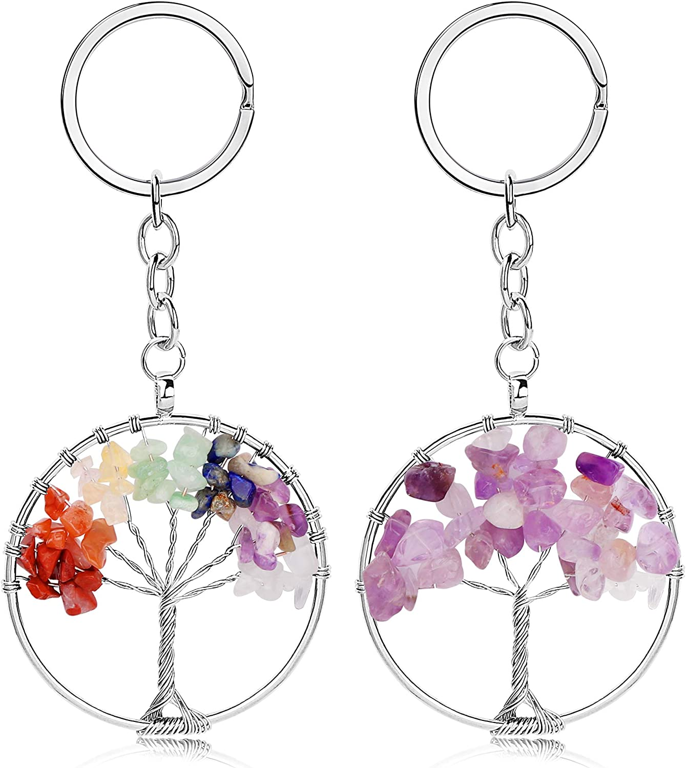 Besteel 2 Pcs Tree of Life Keychain Natural Crystal Stone Amethyst Handmade DIY Keyring