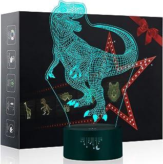 Luz de la Noche del Dinosaurio 3D, LED Lámpara de Mesa de Cabecera 7 colores Cambiando con el Botón de Tacto Inteligente Iluminación decoración Dormir Lámpara, Regalos Perfectos para Niños Navidad