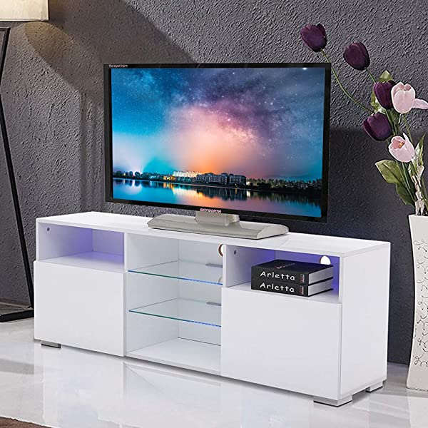 Mecor High Gloss TV Stand With LED Lights Modern White TV Stand For 58 Inch TV Console Storage Cabinet With 3 Layers 2 Doors And Open Shelf