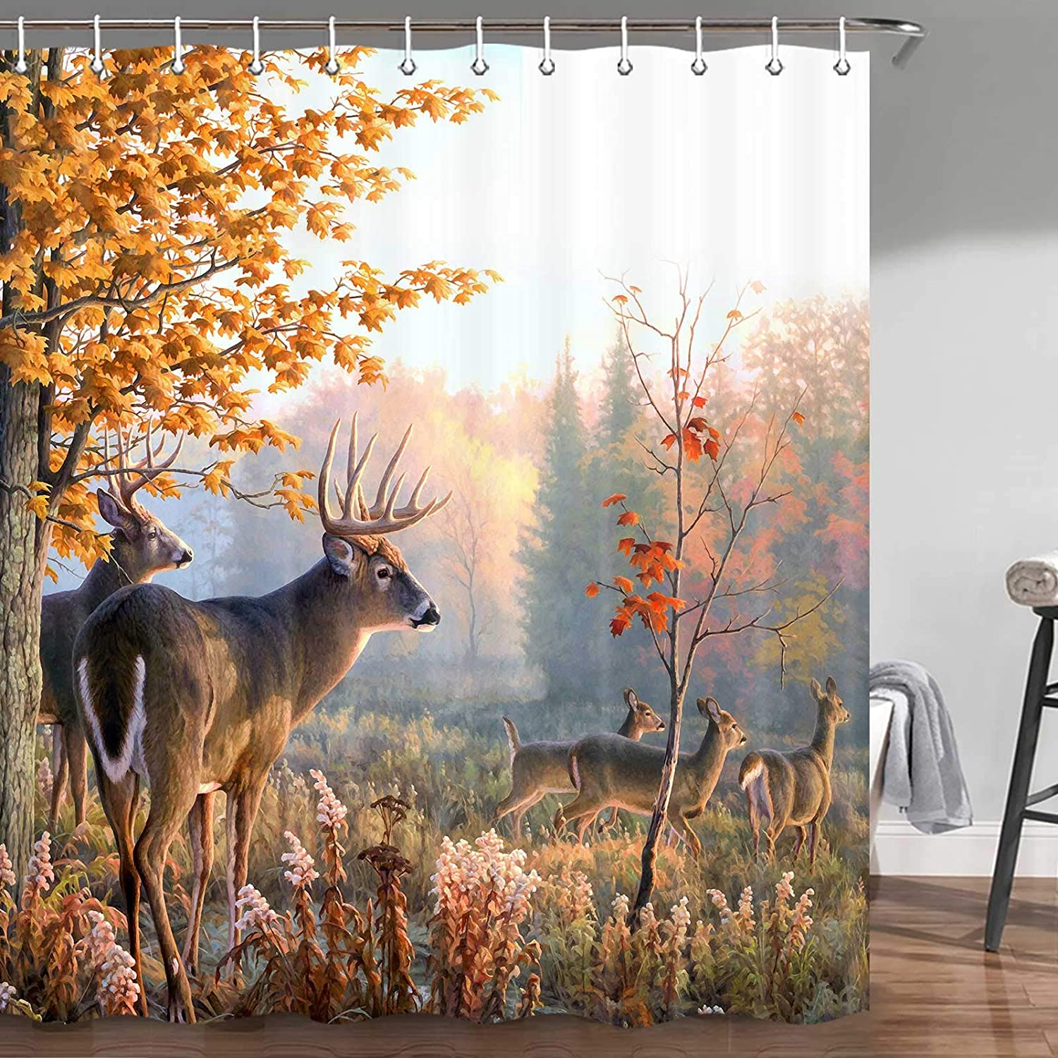 Fall New OFFicial site products world's highest quality popular Shower Curtain Nature Wildlife Show Deers Animal Whitetail