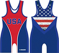 5Kount Free Style Sublimated American Flag Wrestling Singlet Red and Blue Set